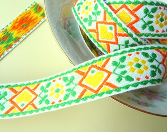 1 Yards Vibrant Orange Yellow Green Dutch Hearts and Flowers Vintage Jacquard Sewing Trim