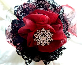 Red, black brooch bouquet Brides Maid ,Bridal or Flower Girl  wand,Prom  or Mothers bouquets wand, fairy wand, Birthday party  wand