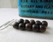 Tiger Ebony Wood Stick Earrings - Natural Beads on Silver Fish Hooks
