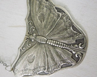 Butterfly Necklace - Antiqued Silver Butterfly Insect Pendant Necklace Silver Chain