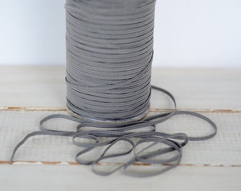 Dark Gray Skinny Elastic, 5 or 10 yards of 1/8""
