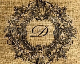 Vintage Wreath Framed Letter D - Download and Print - Image Transfer - Digital Sheet by Room29 - Sheet no. 094D