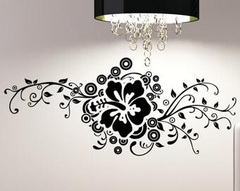 Vinyl Wall Decal Sticker Hibiscus Design 5325s