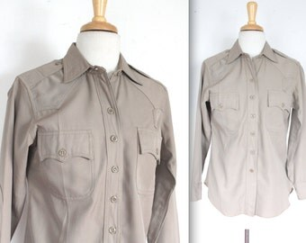 Vintage 1950s Shirt // 40s 50s Tan Gabardine Button Up Shirt // WWII Military Style Shirt // DIVINE