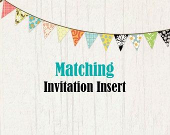 Matching Invitation Insert