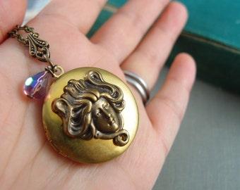Greek woman goddess vintage locket, aged brass locket, round locket, N018