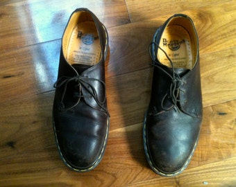 vintage brown leather doc marten loafers shoes, Made in England