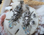 Kirks Folly Skull and Aurora Borealis Dangle Earrings 11.24g