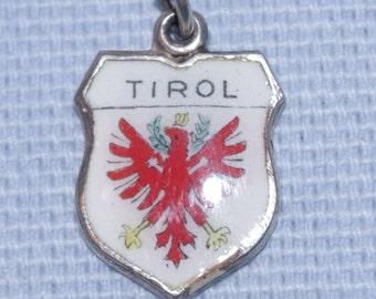 Superb -  Vintage - Set of Three Silver and Enamel Shield Charm - Bayrischzell , Tirol , Cortina  - 1960s