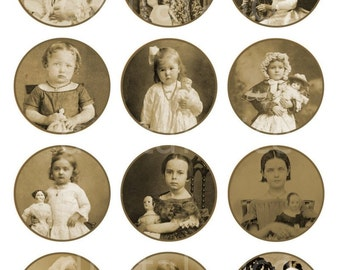 ANTIQUE PHOTOS Girls with Dolls Craft Circles - Victorian Photographs- Instant Download Digital Printable Bottlecaps Cupcakes Collage Sheet