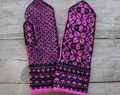 Pink and Black Wool Mittens - Wool Mittens- Christmas Gift - Floral Mittens - Winter accessories - Knit  nO 51.