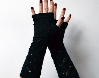 Black Lace Knit Fingerless Gloves - Lace Fingerless Gloves - Fashion Gloves - Feminine fingerless - Gift nO 115.