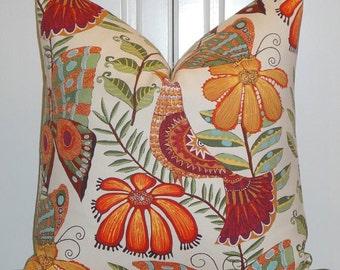 Decorative Pillow Cover - Botanica - Bird - Butterfly - Flowers - Yellow - Orange - Green - Blue