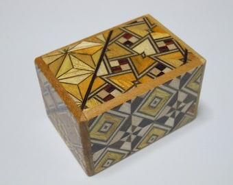 Japanese Puzzle box (Himitsu bako) Mame 1.7inch(42mm) 14 steps Yosegi