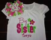 Embroidered - big sister shirt with personalization hot pink & lime green - choose short or long sleeve