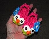 Baby Owl Slippers  -- Made to Order Crochet Cotton
