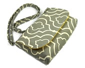 Small Gray Crossbody Bag, Mini Messenger Bag, Gray Quatrefoil Fabric Purse, Small Shoulder Bag, Pocketbook, Geometric Gray and White