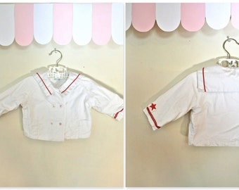 50% OFF last call... // vintage 50s baby jacket - LITTLE SAILOR fleece lined jacket / 12M