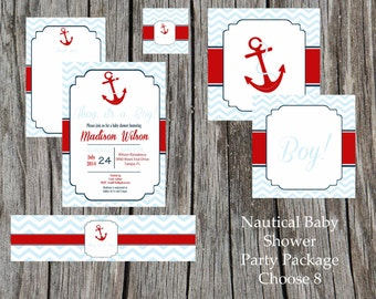 Nautical Baby Shower Party Package, boy, anchor, chevron- diy, choose items, printable