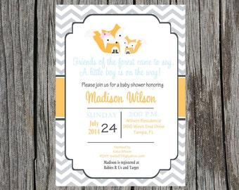 Fox Baby Shower Invitation, forest friends baby shower invitation, woodland creatures, fox, baby boy