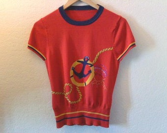 Vintage / Anchor Top / Lightweight Sweater Top / Graphic / Red / Blue / Yellow Gold / Stripes / Sea / Indie / 70s / 80s / 90s / Ocean Lover