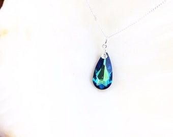 Sale - Bermuda Blue Swarovski Crystal Pendant Sterling Silver Chail