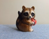 1960s Ceramic Raccoon Figurine Japan