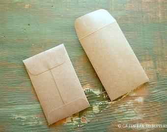"100 Mini Seed Packet Envelopes, Kraft Brown, Business Card, mini coin, gift card envelopes, wedding favor envelopes, 2 1/4""x3 1/2"" (57x89mm)"