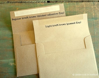 "25 A7 Kraft Envelopes: rustic kraft brown envelopes, grocery bag envelopes, A7 envelopes, eco-friendly recycled, 5 1/4"" x 7 1/4"" (133x184mm)"