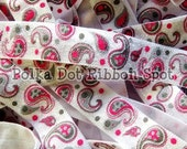 5/8 FOE Fuschia  Paisley 3 yards Fold Over Elastic from our new Mod Thing Collection US designer trim