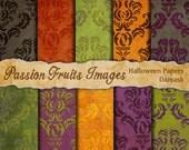 Halloween Damasks paper pack- 10 Piece Digital Paper pack-- Instant Download