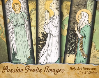 Vintage Holy Images digital collage sheet- Bamboo Tiles