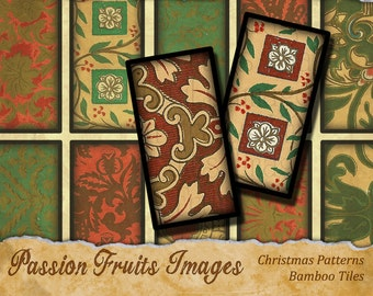 Christmas Bamboo Tiles Digital Collage Sheet-- instant Download