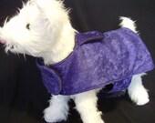 SALE PRICE!  Purple velvet dog coat with Polartec lining, Velcro closures, Handmade