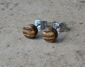 "Tiny Bocote Wood Earring, Natural Wood stud Earring, Surgical steel Post, 1/4""(6mm) - 496"