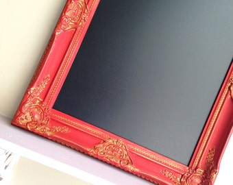 Red FRAMED CHALKBOARD Wine Lover Gift Unique Housewarming Gift Distressed Tuscan Kitchen Gold MAGNETIC Blackboard Rustic Colonial Red Fancy
