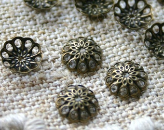100pcs Antiqued Gold Plated Brass Bead Cap 8x2mm Fancy Round Fits 8-10mm Bead