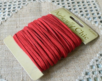 Red Faux Suede Jewelry Cord Lace 3x1mm 9 yard Vegan  Leather Lacing