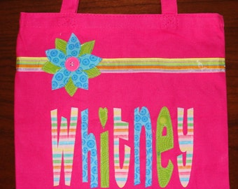 Large personalized tote with ribbon and flower
