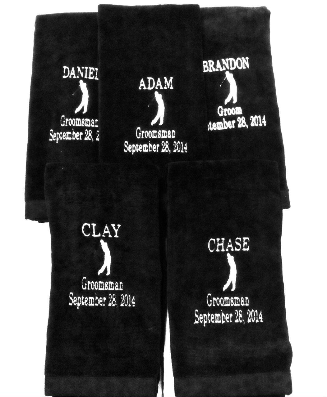 1 Personalized Embroidered Golf Towel Best Man Groosmen Groom
