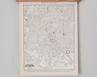 Baltimore 1930s Map | Antique U.S. City Map
