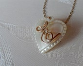 Vintage Mother of Pearl Heart Brooch/ Initial E