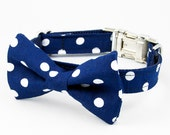 Bow Tie Dog Collar - Navy Polka Dot
