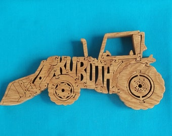 Kubota Farm Tractor Wooden Scroll Saw Puzzle