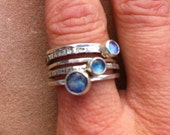 Triple Opal Silver Hammered Stack Ring