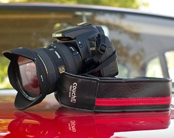 Black and Red Racing Stripe Camera Strap - Vegan Made Upcycled Guitar Strap Pieces