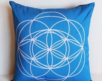 16x16 Geometric decorative pillow cover, cushion cover, eco friendly organic cotton throw cushion 16x16 geo print 01