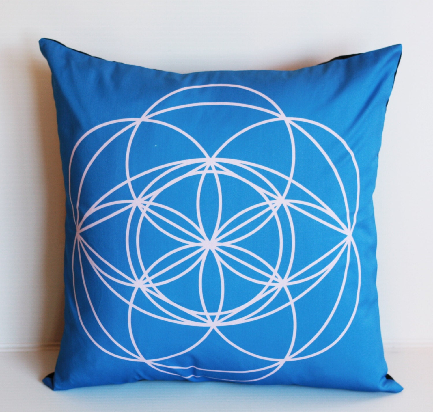 Organic Cotton Throw Pillow Inserts : Square blue cushion cover eco friendly organic cotton throw