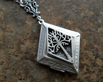 Diamond Shaped Tree of Life  Locket,Unique Exclusive Design by Enchanted Lockets