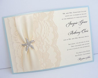 Lace Wedding Invite, Lace Wedding Invitation, Lace Invite, Vintage Invitation,  Nautical Invitation, Starfish Invitation, STAR - LANDSCAPE